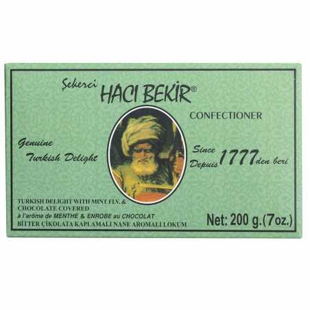 Haci Bekir Turkish Delight Mint Flavoured and Chocolate Coated 200 Gr